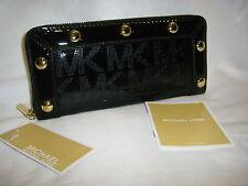 "NWT MICHAEL KORS Continental Wallet ""Delancy"" Black Patent Leather Logo $188"