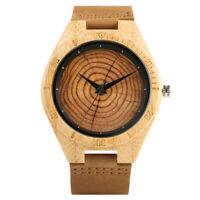 Men Wooden Wrist Watch Women Quartz Nature Wood Bamboo Watch Leather Band Gift