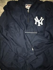 NEW YORK YANKEES Pullover VINTAGE MAJESTIC Men's XL Nylon Sewn Logo RARE