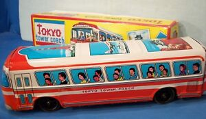 Friction Drive ~ Tokyo Tower Coach ~ Tin Litho Bus w/ Box ~ Rubber Wheels