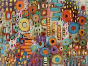 Garden Abstract 12 x 16 ORIG CANVAS PAINTING Folk ART COLORFUL Karla Gerard