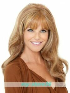 100% Human Hair Young Woman Long Golden Brown Wavy Style With Full Bang Wig