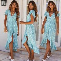 Fashion Womens Summer Beach Ruffles Sleeve Irregular Hem V-Neck Print Long Dress