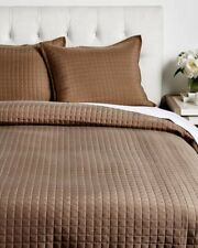 $705! Nwt Ann Gish Ready-to-Bed Washable Silk 2-Pc Queen Coverlet Set - Espresso