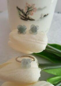 Genuine Icy 4.7ct Jadeite Jade(Type A) 925 Silver Ring&Earring Set SZ Adjustable