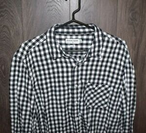 American Apparel Plaid Flannel SIZE XL Made in USA Black/White