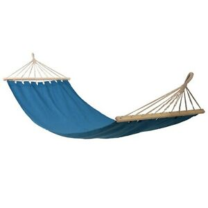 Blue Outdoor Garden Canvas Hammock Swinging Hanging Camping Travel Bed Lounger