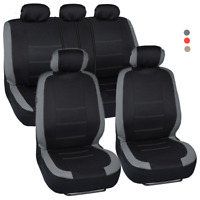 Car SUV Van Seat Covers 9 Pieces Front & Rear Full Interior Set - Split Bench