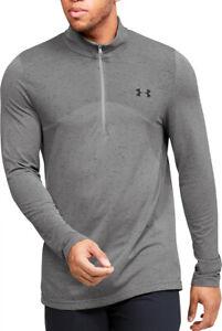 Under Armour Seamless Half Zip Long Sleeve Mens Training Top - Grey