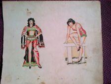 SWEET PINUPS - RARE UNIQUE ORIGINAL 1920-30s CLASSIC  BOWERY TATTOO FLASH SHEET