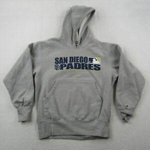 Majestic San Diego Padres Hoodie Adult Medium Men Gray Blue Sweatshirt 2006