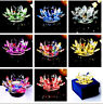 Candle Tea Light Crystal Glass Holder Lotus Flower with Spin system&Gift Box NEW