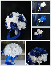 17pc wedding silk flowers-Royal blue,White-bouquet corsage boutonnieres