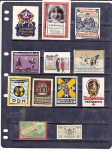 POSTER STAMPS, A COLLECTION OF 12 GERMAN ADVERTISING LABELS
