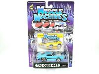 MUSCLE MACHINES '70 OLDS 442 BLUE 02-41 NEW NOC 1/64 SCALE DIECAST
