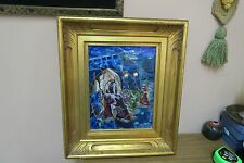 Vintage Signed Art Acrylic Canvas Painting Abstract Expressionism Judaica Framed