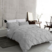 Silver Grey Pintuck Duvet Cover 100% Egyptian Cotton Bedding Sets Double King