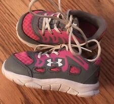 Under Armour pink/gray sneakers Us shoe size 6 Toddler Girls Euc