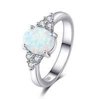 Fire Opal Genuine 925 Sterling Silver White Gold Gemstone Jewelry Ring All Sizes