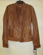Guess Los Angeles Women's Coat XS Whiskey Brown Leather Jacket MSRP $380 H322