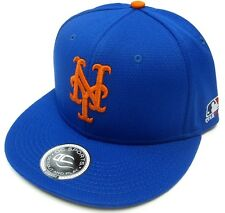 New York Mets MLB OC Sports Q3 Flat Hat Cap Solid Blue Orange NY Logo OSFM