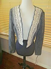 ANTHROPOLOGIE TABITHA LACE CROPPED WOOL TWEED JACKET 10 *NWT*
