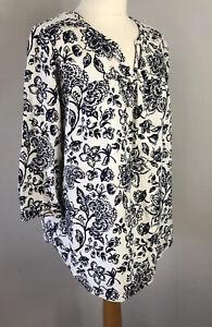 TU Size 12 White Blue Floral Blouse Linen Mix Sleeves V Neck Autumn Workwear