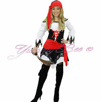 Pirate Costume Women Adult Fancy Dress Caribbean Captain Halloween Size 8-18 UK