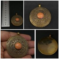 Stunning brass old pendent with orange color howlite #A2