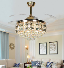 """New Listing42"""" Luxury Crystal Retractable Ceiling Fans Led 3-Color Light Remote Chandelier"""