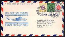 CHINA US 1937 HONG KONG TO SAN FRANCISCO FRANKED $2,+50c+30c HONG KONG AIR MAIL