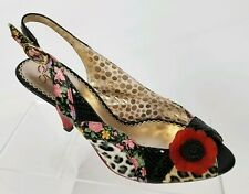 Poetic License Womens Passion Fruit Pumps Floral Peep Toe Slingback Heels Sz 6