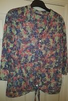 ladies PER UNA floral tie front tunic top size 18 teal blue