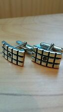 Designer (Kit Heath) Sterling Silver and Black Diamond Cuff-links. New in Box.