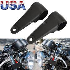Motorcycle Black Headlight Mount Brackets Fork For Harley Cafe Racer 35MM-41MM