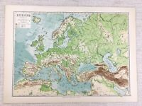 1894 Antique Map of Europe Physical Geography European 19th Century