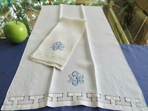 2 Antique Fine Linen Bath Shaving Face Towels Geometric Drawnwork Blue Mono RFC