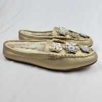 Lands' End Leather Snowflakes Clog Slippers Gold Womens Size 10M NWOT