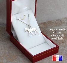 Ensemble en argent massif vrai 925 Pendentif cheval et chaine pour femme /enfant