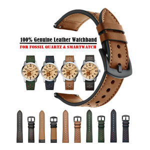Quick Fit 20mm 22mm Dots Genuine Leather Wrist Watch Band Strap for Fossil Watch