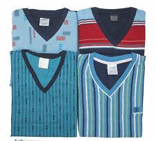 Herren Pyjama Schlafanzug Nachtwäsche Langarm Lange Hose V- Rundhals-Ausschnitt