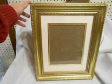 vintage wood picture frame mated w glass gold tones