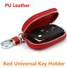 Universal PU Leather Auto Car Smart Remote Key Holder Bag Fob Case Cover Red New