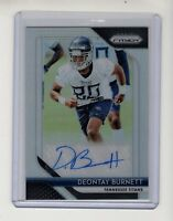 Deontay Burnett 2018 Panini Prizm Silver Prizm Rookie Autograph Card (TITANS)