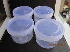 20 x 300ml Plastica Trasparente Cibo Barattolo Scatola di immagazzinaggio contenitore accatastabile coperchio e cucchiaio