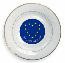 British Brexit, Europe 'We Still Love You' Gold Rim Plate in Gift B, BRITISH-4PL