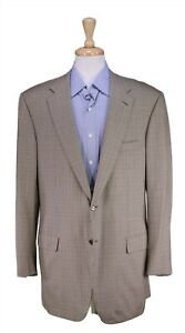 Brioni Parlamento Olive/Tan/Orange Houndstooth Wool 2-Btn Sportcoat Blazer 44L