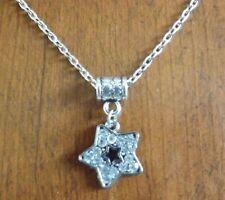 collier chaine argenté 46 cm étoile strass 19x18 mm