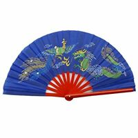 Chinese Tai Chi Martial Art Kung Fu Bamboo Dragon and Phoenix Fan Blue