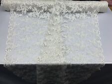 Floral - Flower Mesh Embroidered Lace Fabric By The Yard Bridal Veil Ivory
